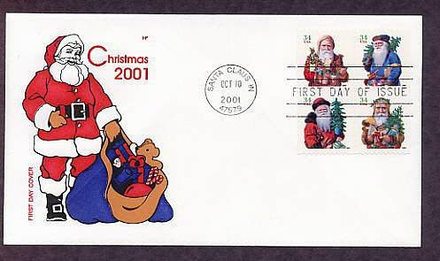 Christmas Postage Stamps 2001, Chromolithograph Santa Claus Images, First Issue FDC USA