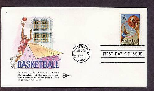 Basketball Centennial, Springfield, Massachusetts, Gill Craft FDC USA
