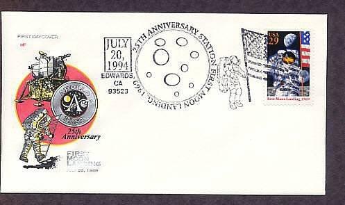 Moon Landing NASA Apollo 11 Space Astronaut, Edwards HF First Issue USA FDC