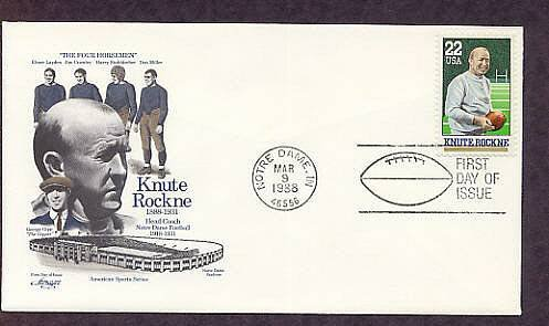 Knute Rockne, Notre Dame Football, Indiana First Issue 1988 FDC USA