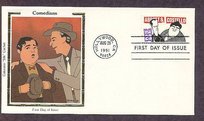 Abbott and Costello, Al Hirschfield, Silk 1991 First Issue FDC USA