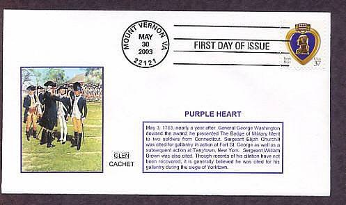 The Purple Heart Military Medal, George Washington, GLEN 2, First Issue Virginia USA