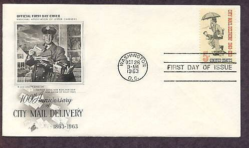 US Mail Carrier, Norman Rockwell, First Issue AC 1963 USPS