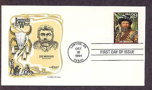 Legends of the West, Honoring Mountain Man James Bridger First Issue USA