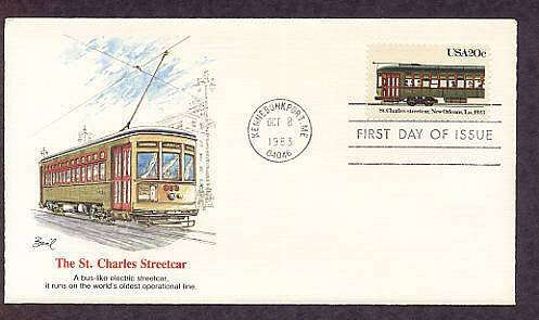 St. Charles Streetcar, New Orleans, Louisiana, 1923, First Issue USA