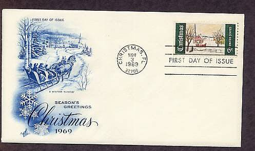 1969 Christmas Postage Stamp, Winter Sunday, Norway Maine, First Issue USA