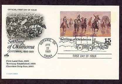 Settling of Oklahoma Centennial, First Issue Postal Card USA