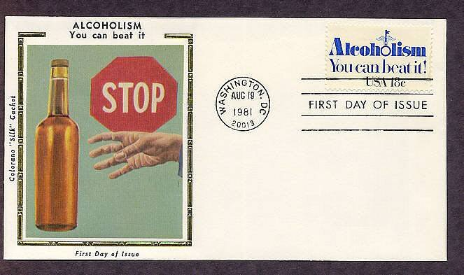 Combat Alcoholism, Hope for Alcoholics, Silk FDC 1981 First Issue USA