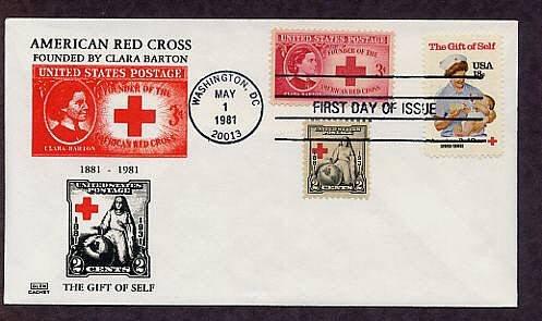 American Red Cross, Nurse and Baby, Civil War Nurse Clara Barton, Combo, First Issue USA