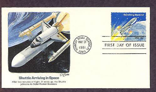 NASA Mission, Space Shuttle Arriving in Space, 1981 Kennedy Space Center, First Issue USA