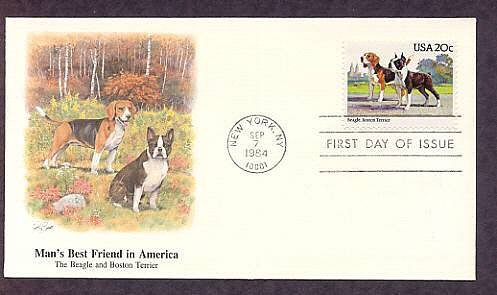 Dog Breeds Beagle, Boston Terrier,  American Kennel Club, Fleetwood First Issue USA