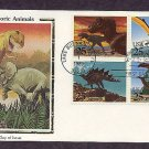 Dinosaurs, Tyrannosaurus, Pteranodon, Stegosaurus, First Issue Colorano Silk USA