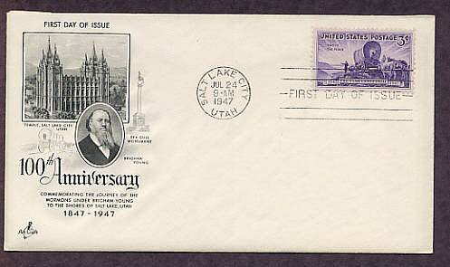 100th Anniversary of the Mormon Settlement Utah, Brigham Young, 1947 First Issue USA
