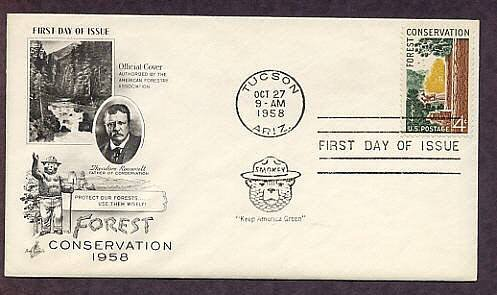 Smokey the Bear, Forest Conservation, Teddy Roosevelt, 1958 First Day of Issue USA