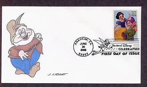 Walt Disney Art, Snow White, Dopey, Happy, First Day of Issue FDC USA