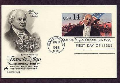 Honoring Revolutionary War Italian-American Patriot Francis Vigo, First Issue USA