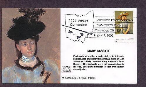 Honoring Artist Mary Cassatt, Child in a Straw Hat, The Black Hat, First Issue, FDC USA