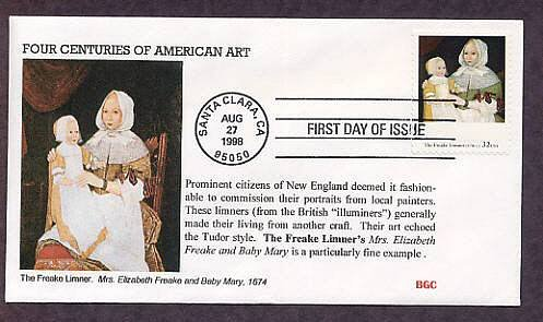 American Art, The Freake Limner's Mrs. Elizabeth Freake and Baby Mary, 1674, First Issue USA