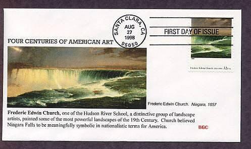 Frederic Edwin Church, Hudson River School Painter, Niagara, 1857, First Issue, FDC USA
