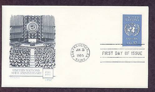 50th Anniversary of the United Nations, First Issue FDC USA