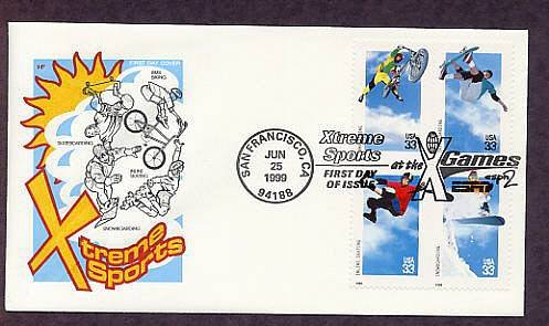 Xtreme Sports, Skateboarding, Snowboarding, BMX Biking, Inline Skating, First Issue, FDC, USA