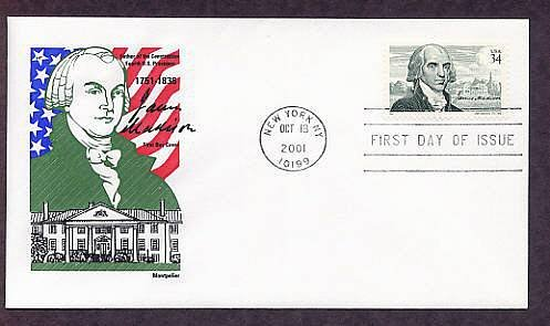 Honoring President James Madison, Father of the Constitution, First Issue USA