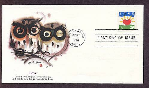 1994 Love Stamp Heart, Owls, First Issue USA