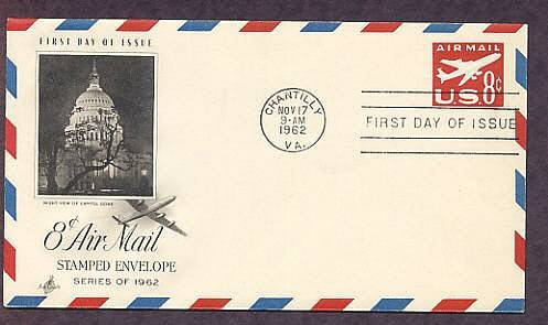 Airmail Embossed Envelope, Airliner in Flight, First Issue USA