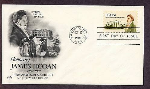 Honoring White House Irish-American Architect James Hoban, FDC, First Issue USA