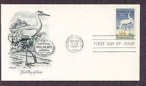 Whooping Cranes, Birds, First Issue, 1957 Wildlife Conservation, USA
