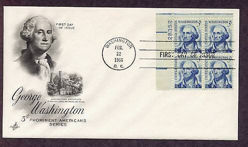 First U.S. President George Washington, Plate Block First Issue USA