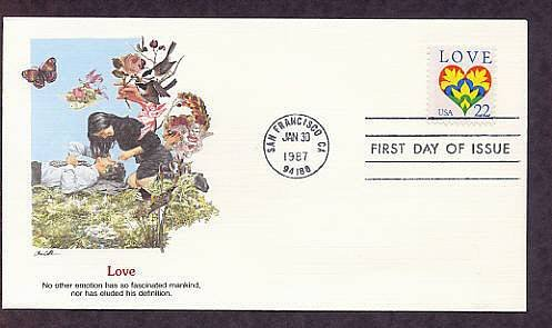 1987 Love Postage Stamp, USPS Fleetwood First Issue USA