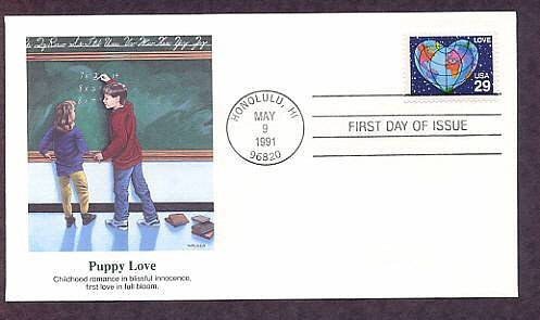 1991 Love Postage Stamp, Heart Shaped Earth, Puppy Love First Issue USA