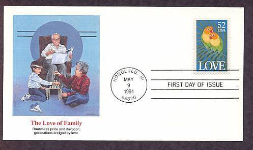 USPS Love Stamp, Love Birds, Parrots, Honolulu, Hawaii 1991 First Issue USA