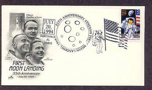 First Moon Landing NASA Apollo 11 Space Astronauts, Huntsville, Alabama, First Issue USA FDC
