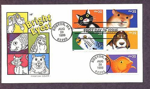 Bright Eyes, Pets, Dog, Cat, Goldfish, Parakeet, Hamster, First Issue FDC USA