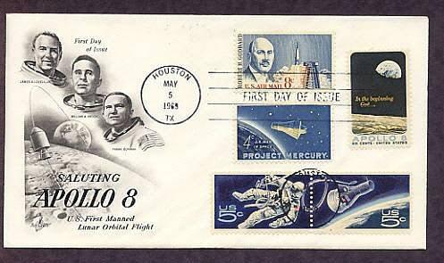 NASA Apollo 8 Space Twins Astronaut, Project Mercury, Robert Goddard Combo First Issue USA