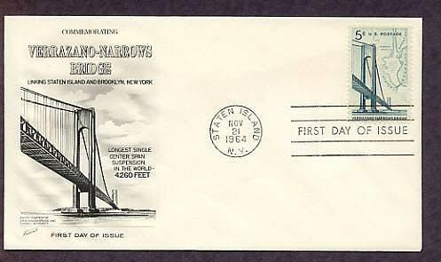 Verrazano Narrows Suspension Bridge, New York, Fleet. 1964 First Issue USA