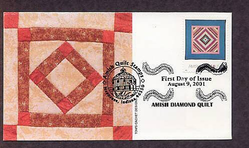 Amish Quilts, Diamond Quilt, First Issue USA