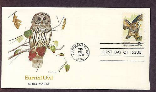 American Owls, Barred Owl, Strix varia, First Issue USA