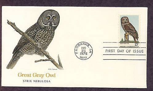 American Owls, Great Gray Owl, Strix nebulosa, First Issue USA