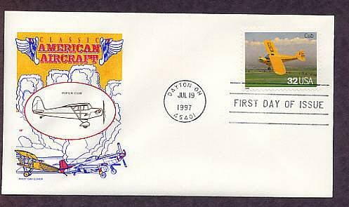 Piper Cub Airplane, Classic American Aircraft, Aviation First Issue USA