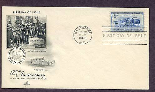 B&O Railroad, Locomotives, 1952 Baltimore, Maryland, First Issue USA