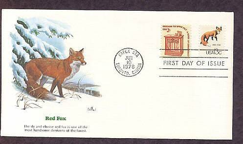 Red Fox, Wildlife that Shares the Border Between Canada and the USA, First Issue