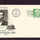 US President Abraham Lincoln 1968 Postal Card First Issue USA