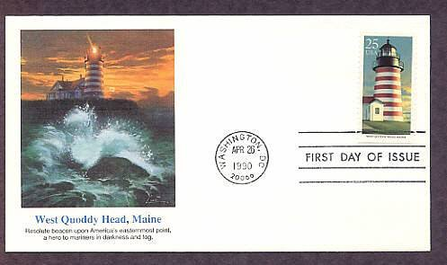 West Quoddy Head Lighthouse Maine Fleetwood First Day of Issue USA