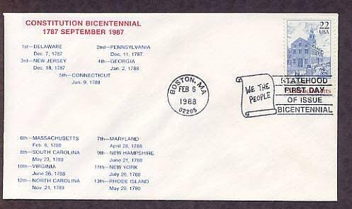 Massachusetts Statehood Bicentennial, HC First Issue FDC USA