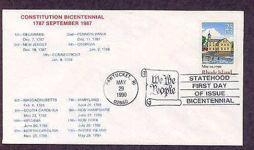 Rhode Island Statehood Bicentennial HC First Issue FDC USA