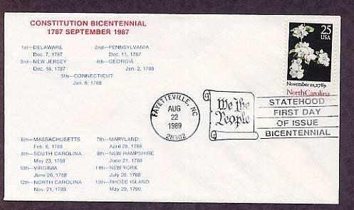 North Carolina Statehood Bicentennial, HC First Issue FDC USA