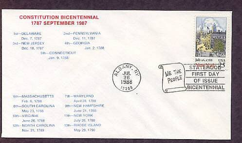 New York Statehood Bicentennial, HC First Issue FDC USA